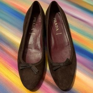 Prada chocolate suede loafers - mini heel EUC